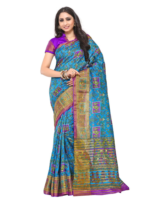 Kupinda raw silk saree with unstiched blouse - blue