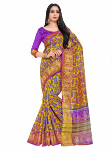 Kupinda Kalamkari Print Art Raw Silk saree Color:Gold (4192-SALN-12-PT-GLD) - kupindaindia