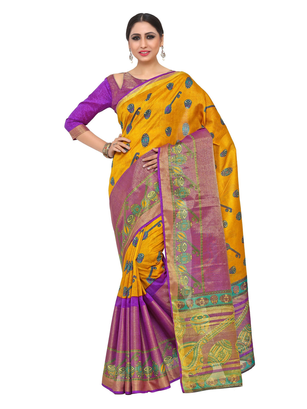 Kupinda raw silk saree with unstiched blouse - gold
