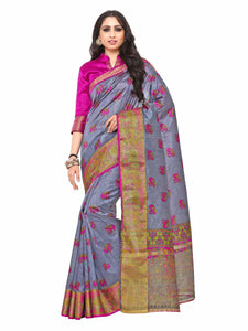 Kupinda Kalamkari Print Art Raw Silk saree Color:Grey (4193-SALN-13-PT-GREY) - kupindaindia