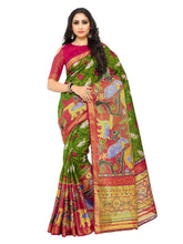 Kupinda raw silk saree with unstiched blouse - olive