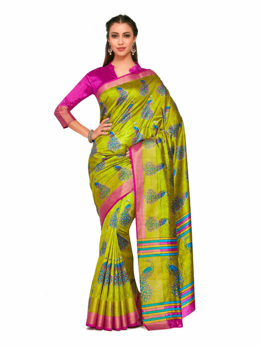 KUPINDA Raw Silk Saree With Blouse Piece - kupindaindia