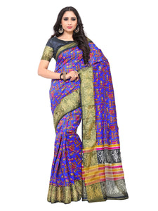 Kupinda raw silk saree with unstiched blouse - purple