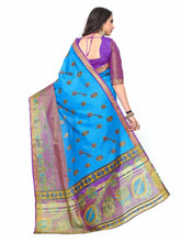 Kupinda Kalamkari Print Art Raw Silk saree Color:Blue (4194-SALN-14-PT-AND) - kupindaindia