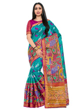 Kupinda raw silk saree with unstiched blouse - turquoise