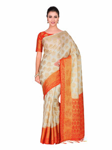 Mimosa Art silk Wedding saree Kanjivarm Pattu style With Contrast Blouse Color: Beige (4293-226-2D-HWT-ORG) - Kupinda