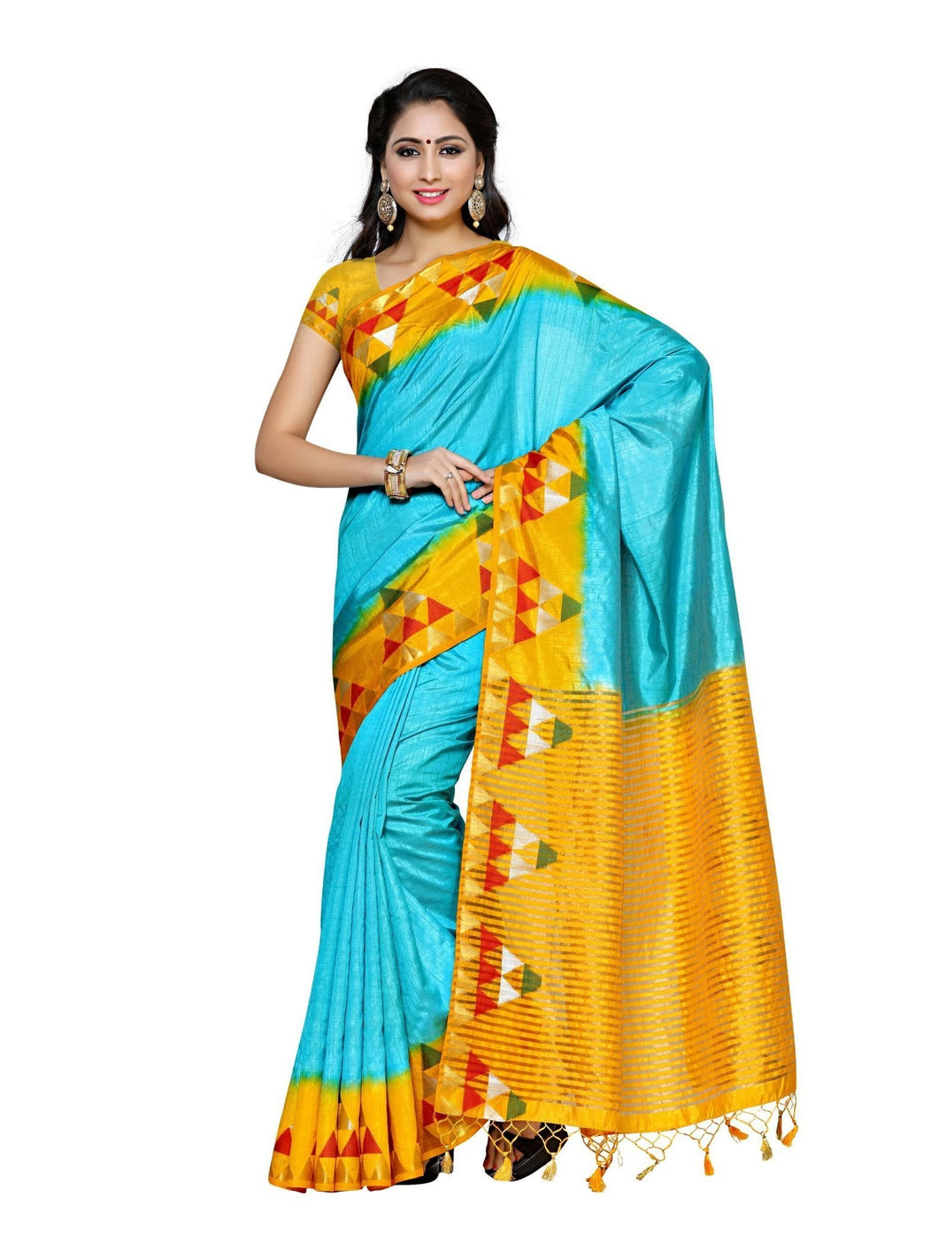 MIMOSA Ikkat Triangle Design Border Kanjivaram Style Silk Saree with Blouse in Color Sky Blue (4021-217-2d-and-gld) - kupindaindia
