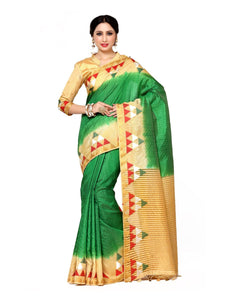 Mimosa art silk saree with unstiched blouse - green