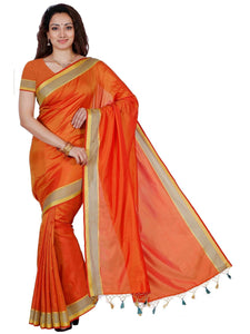 MIMOSA Striped Design Border Art Silk Kanjivaram Style Saree with Blouse in Color Red (3350-mli-01-rd-gld) - kupindaindia