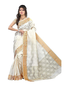 Mimosa art silk saree with unstiched blouse - off-white