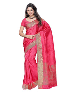 Mimosa art silk saree with unstiched blouse - pink