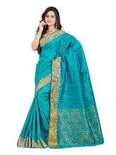 Mimosa art silk saree with unstiched blouse - turquoise