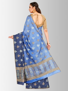 Mimosa banarasi style lenin saree with unstiched blouse