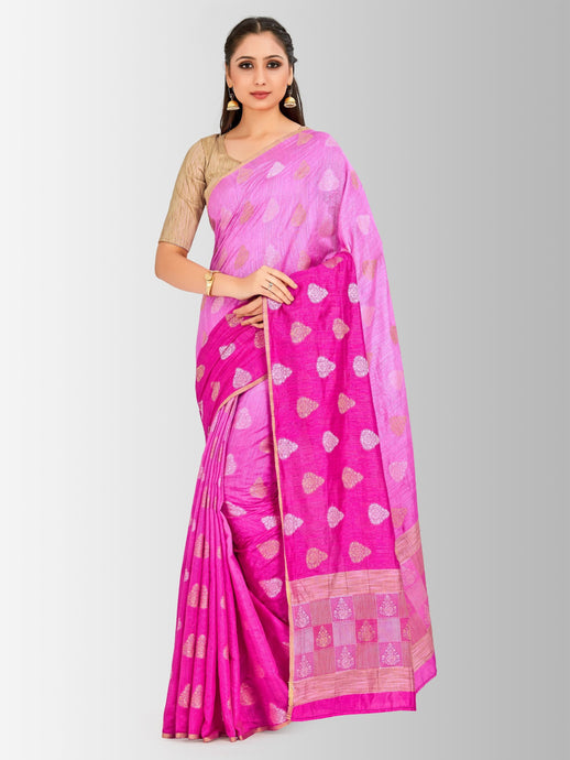 Mimosa banarasi style lenin saree with unstiched blouse -