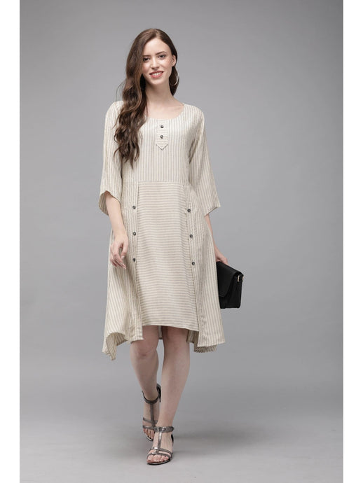 Mimosa beige color striped round neck a-line dress for women