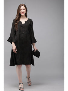 Mimosa black color striped mandarin collar a-line dress for