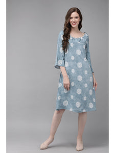 Mimosa blue color embellished round neck a-line dress for