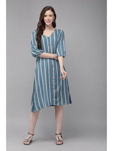 Mimosa blue color striped v-neck a-line dress for women - s