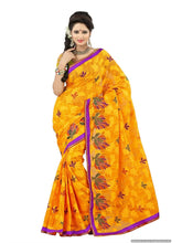 MIMOSA Simple Design Brasso Saree with Blouse in Color Gold (3084-brasso-emb-gold) - kupindaindia
