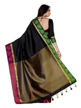 MIMOSA Green & Red Floral Design Border Tussar Silk Saree with Blouse in Color Black (4012-2132-blk) - kupindaindia