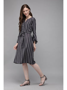 Mimosa charcoal grey color striped v-neck a-line dress for