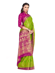 Mimosa Chiffon saree kanjivaram Style With Brocket Blouse - kupindaindia