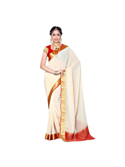 MIMOSA Simple Zari Design Chiffon Saree and Blouse in Color Off White and Red (3309-2095-hwt-red) - kupindaindia