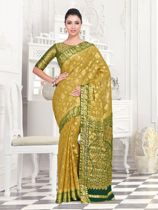 MIMOSA Women's Chiffon Kanjivaram Pattu Style Saree with Brocket Blouse - kupindaindia