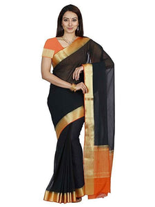 Mimosa chiffon saree with unstiched blouse - black