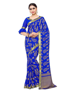 Mimosa chiffon saree with unstiched blouse - blue