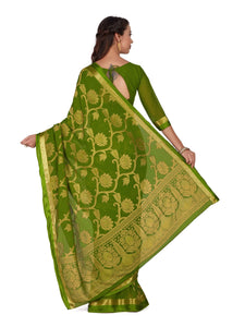 Mimosa Art Chiffon saree Kanjivarm Pattu style With Running Blouse - kupindaindia