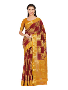 MIMOSA Women's Chiffon Kanjivaram Saree with Brocket Blouse - kupindaindia