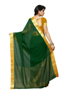 MIMOSA Simple Design Chiffon Kanjivaram Style Saree with Blouse in Color Green and Mustard (3384-2111-bgrn-mst) - kupindaindia
