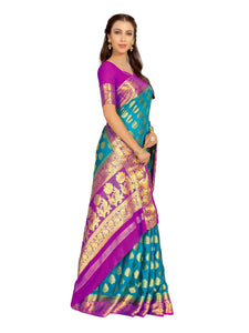 Mimosa Art Chiffon silk saree Kanjivarm Pattu style With Contrast Color Blouse - kupindaindia