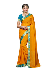 Mimosa chiffon saree with unstiched blouse - gold
