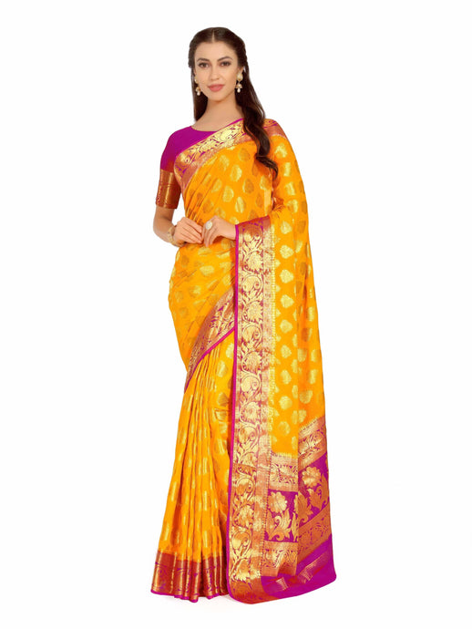 Mimosa Art  Chiffon silk  Wedding saree Kanjivarm Pattu style With Contrast Color: Gold (4263-2247-2D-GLD-RNI) - kupindaindia