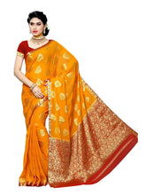 MIMOSA Leaf Design Chiffon Kanjivaram Saree with Blouse in Color Gold and Red (3396-2117-gd-rd) - kupindaindia
