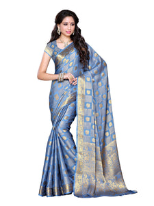 Mimosa chiffon saree with unstiched blouse - grey