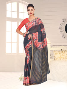 MIMOSA Chiffon Banarasi Silk Style Light Weight Saree with Blouse - kupindaindia