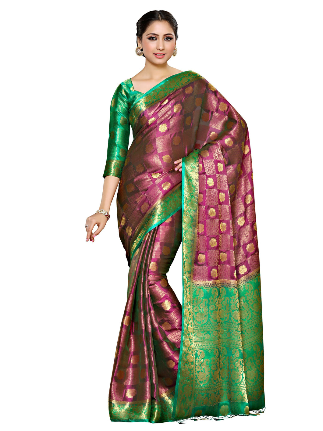 MIMOSA Flower Design Chiffon Saree with Blouse in Color Dark Pink (4046-221-gr-2d-rni-rma) - kupindaindia