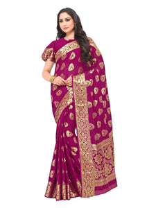Mimosa chiffon saree with unstiched blouse - magenta