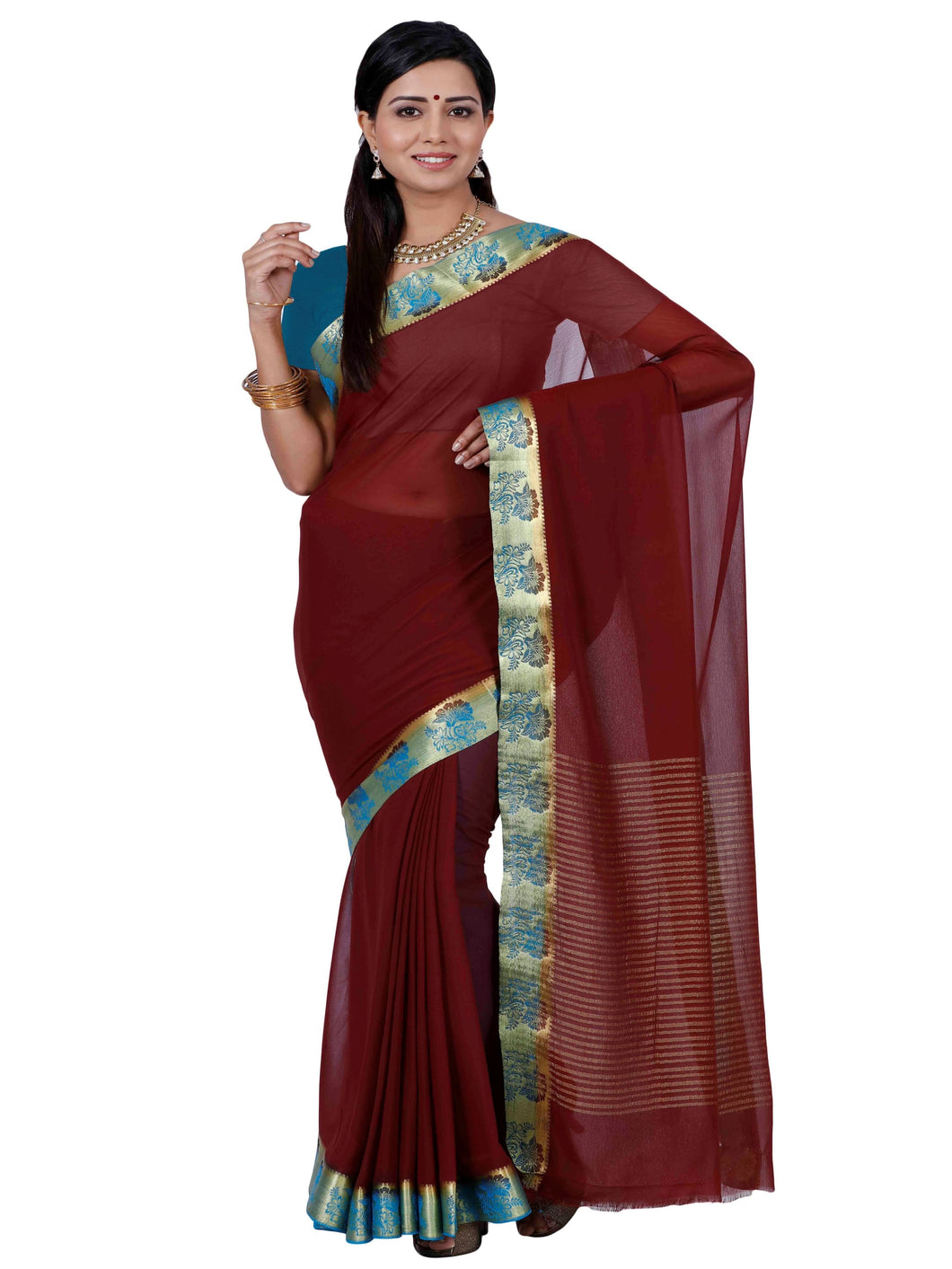 Mimosa chiffon saree with unstiched blouse - maroon