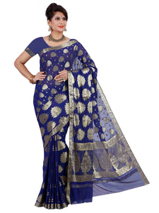 Mimosa chiffon saree with unstiched blouse - navy blue