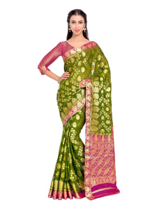 Mimosa Art Chiffon silk saree Kanjivarm Pattu style With Contrast Double Blouse - kupindaindia