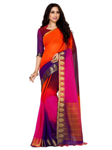MIMOSA Multicolor Simple Chiffon Kanjivaram Style Saree with Un-stiched Blouse (4091-2130-4d-rblu) - kupindaindia