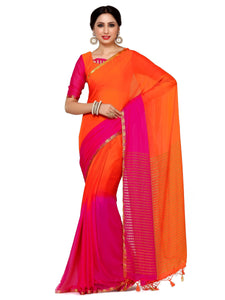 MIMOSA Orange and Pink Color Plain Chiffon Kanjivaram Style Saree with Multicolor Blouse (4018-2139-2d-org-rni) - kupindaindia