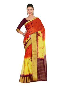 Mimosa chiffon saree with unstiched blouse - orange
