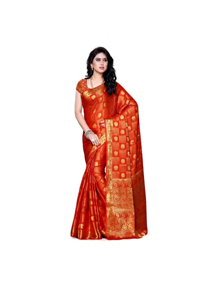 MIMOSA Golden Touch Bright Chiffon Saree and Blouse in Color Orange (3302-221-orng) - kupindaindia