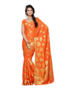 Mimosa chiffon saree with unstiched blouse - peach