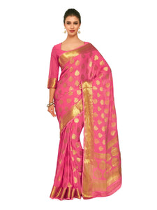 Mimosa Art Chiffon silk saree Kanjivarm Pattu style With Running Blouse - kupindaindia